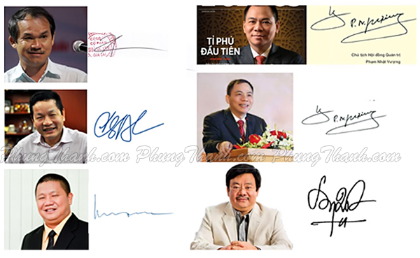 Chữ ký của một số doanh nhân thành đạt ở Việt NAM