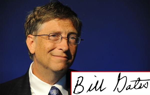 Chữ ký đơn giản, khá tròn trịa của Bill Gates mệnh Kim