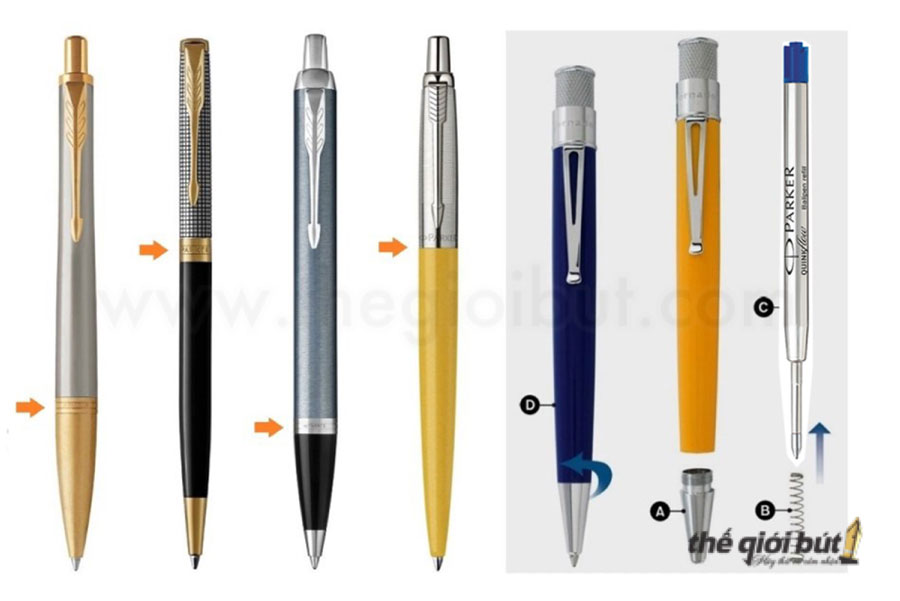 Các loại bút bi Parker thường được thiết kế bấm hoặc xoay nắp khi muốn viết.